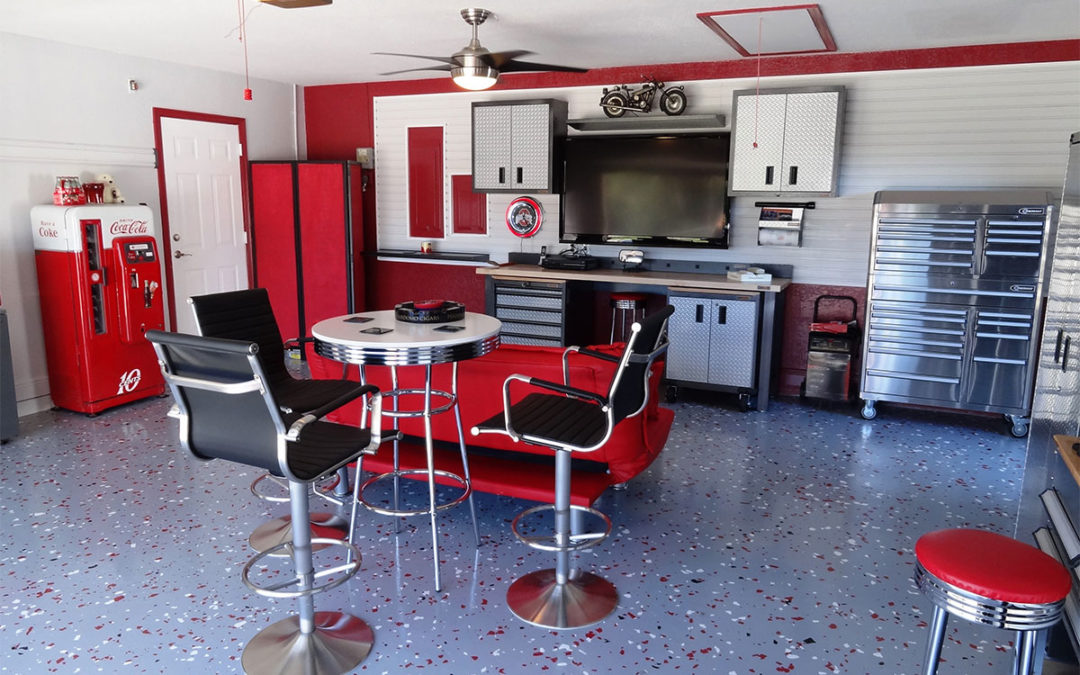 Bright Summer Red Garage Makeover completed for resident of SW 160th Terrace in Palmetto Bay.